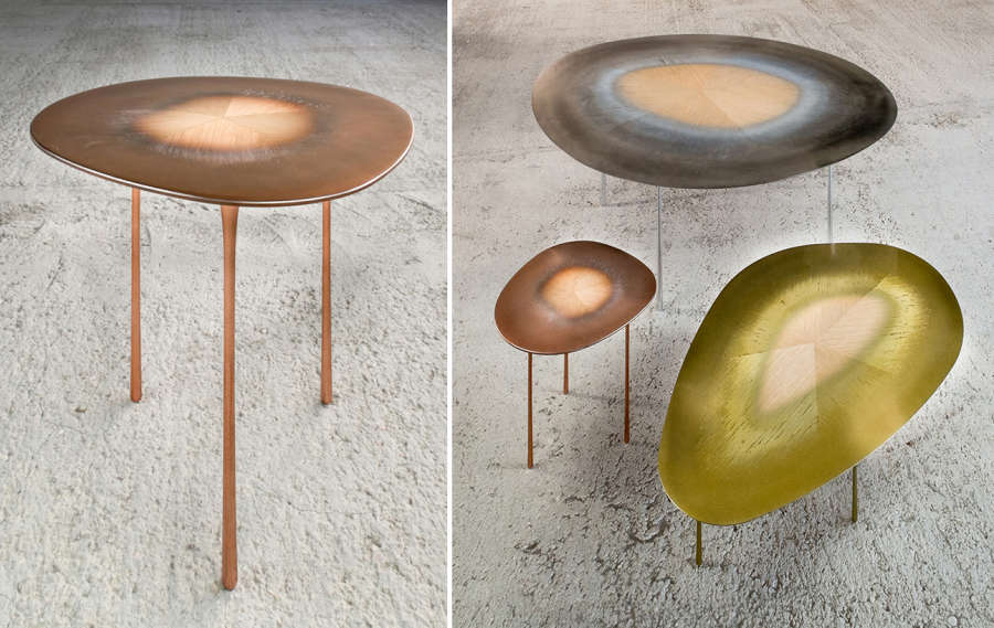 Tables made with a metal & wood composite