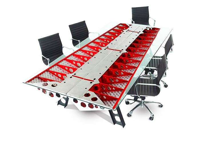 Conference table made from airplane parts