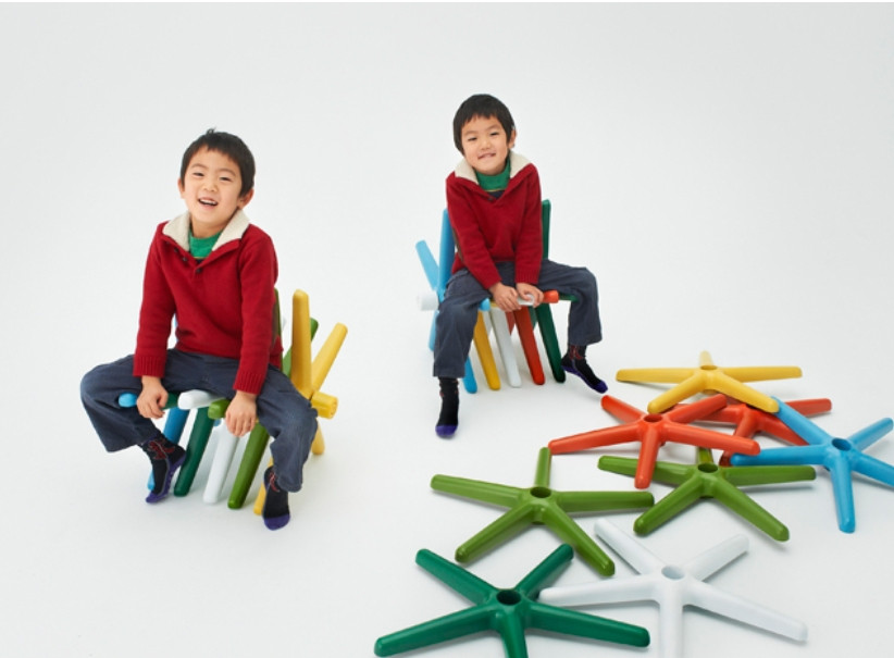 Old office chair bases repurposed as children's seating