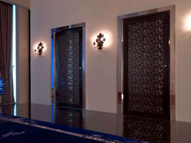 Mirrored doors with punched leather