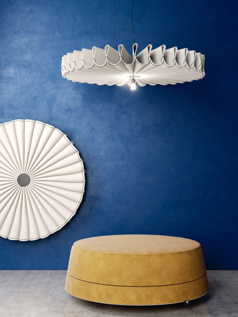 A pendant light fixture made from acoustical fabric