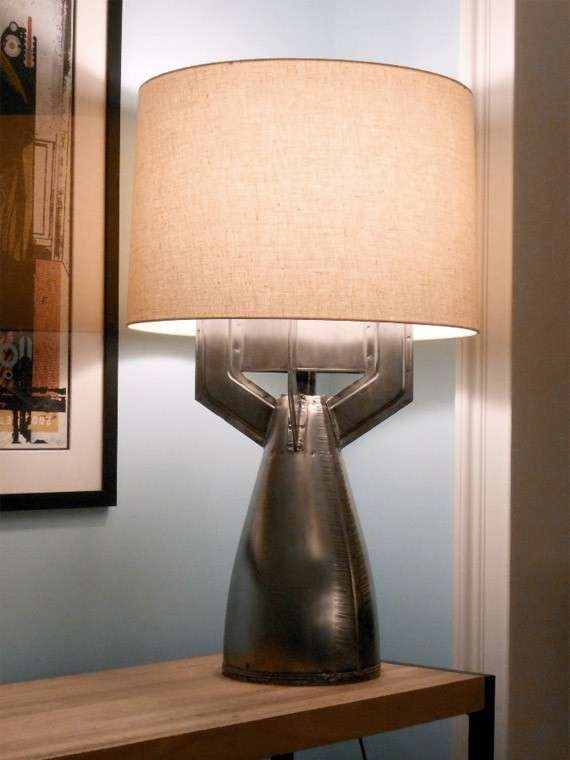 A table lamp base made with an upcycled megaton bomb
