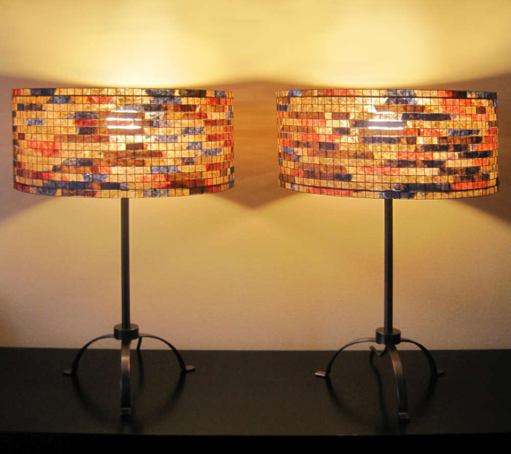 Lampshades made from reclaimed and dyed coffee filters