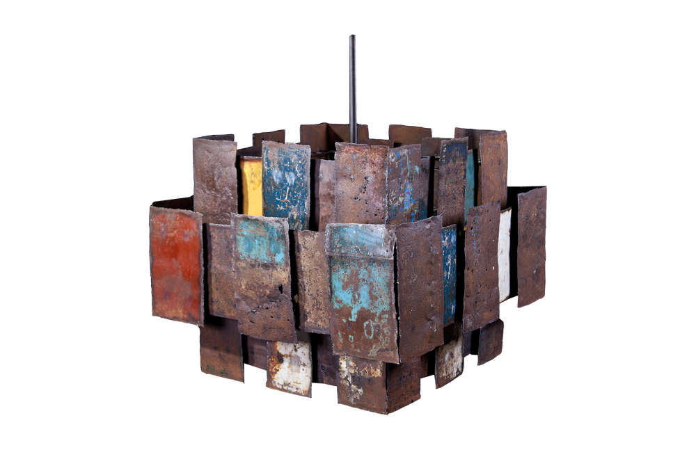 Chandelier from recycled, painted steel oil drums