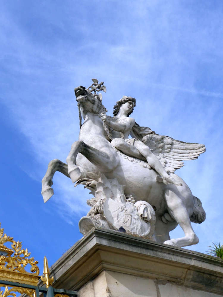Sculpture of Mercury riding Pegasus on the western entrance gate post of the Jardin des Tuileries
