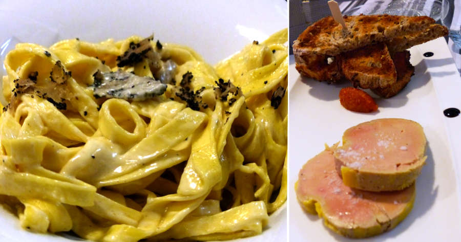 Dinner of truffles and foie gras