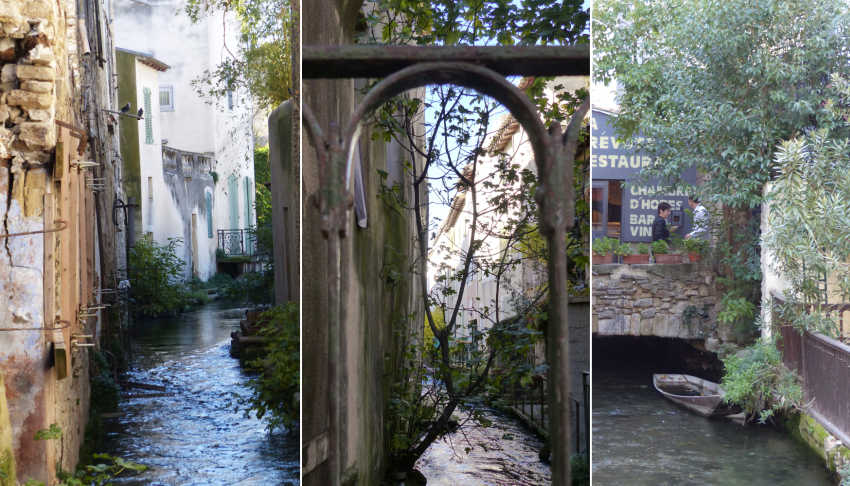 A trio of images showing the narrow waterways and small bridges. between buildings