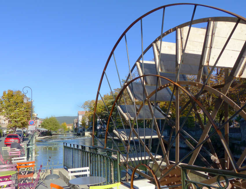 One of water wheels in the center of town.