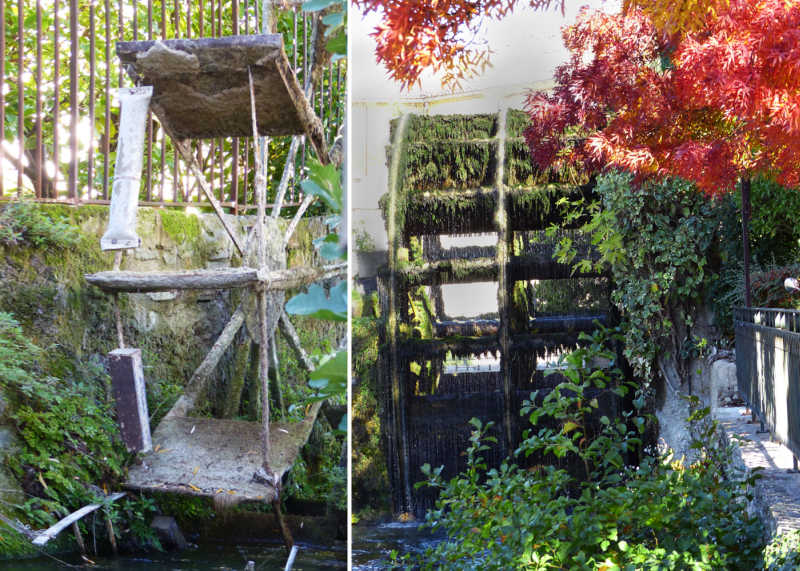 2 different water wheels along the Water Wheel Trail