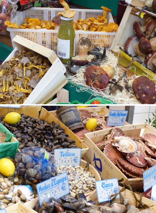 Seafood and produce in local shops