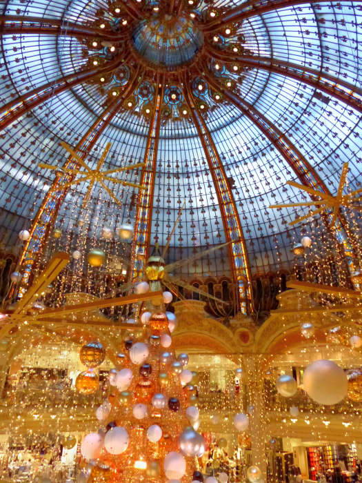 Great atrium of Galeries Lafayette on Boulevard Haussmann all decked out for the Holidays.