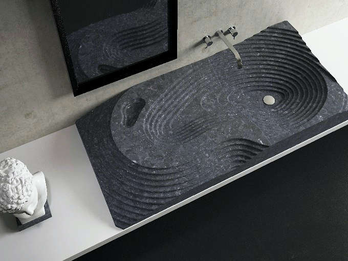 A sink of black Nero Marquina marble.