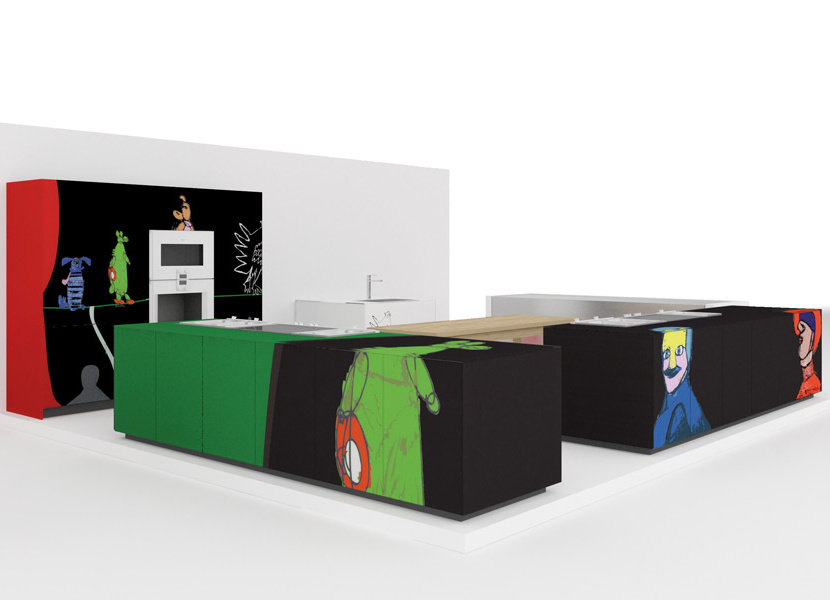Kitchen cabinets with pop art