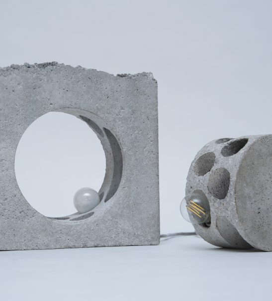 Set of 2 table lamps made from concrete.