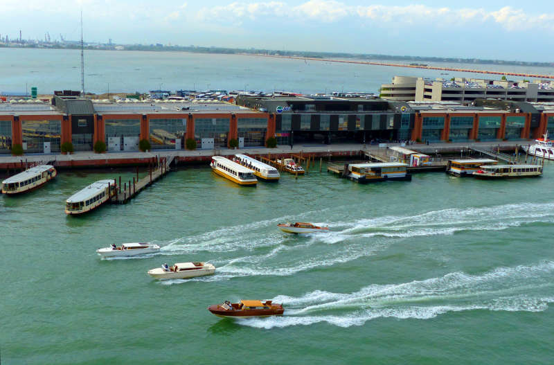 Boat traffic at Tronchetto terminal