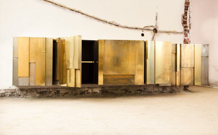 Sideboard faced with patinated brass