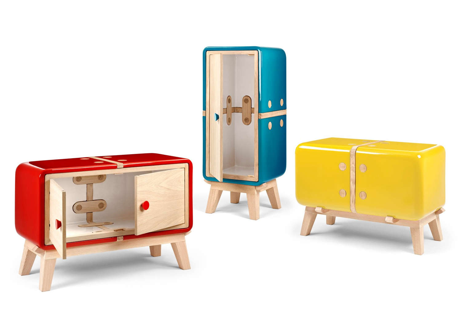 Vibrantly colorful cabinets with a retro look.
