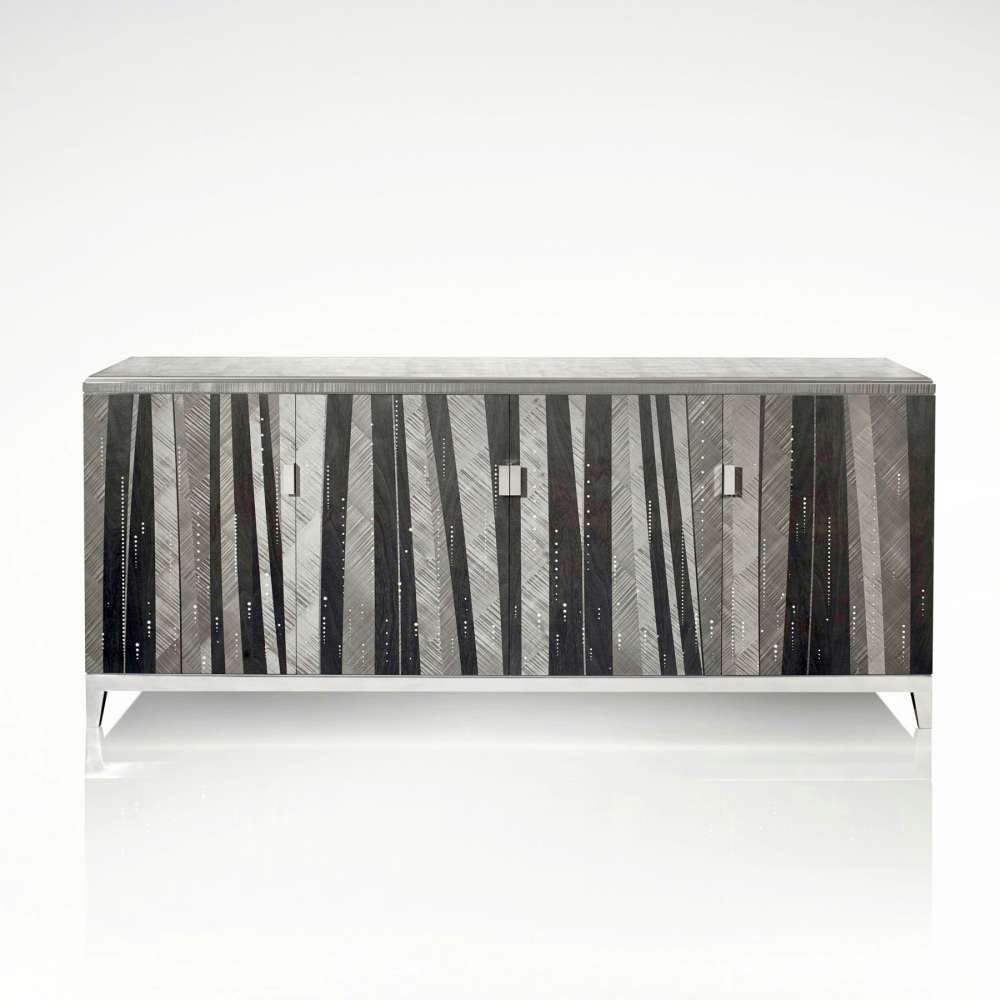 Cocktail cabinet of charcoal hand dyed ripple and straight sycamore veneers