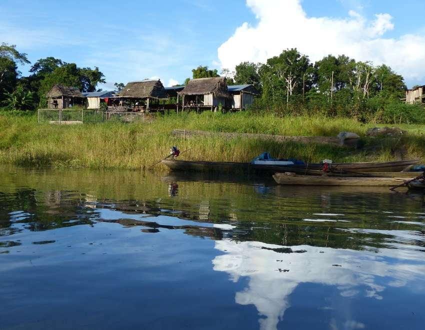 Small village along the river bank