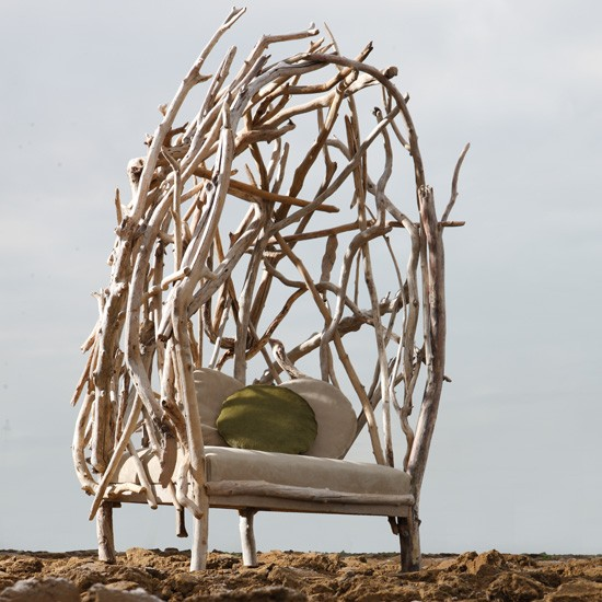 Wingback Chair made from recycled driftwood