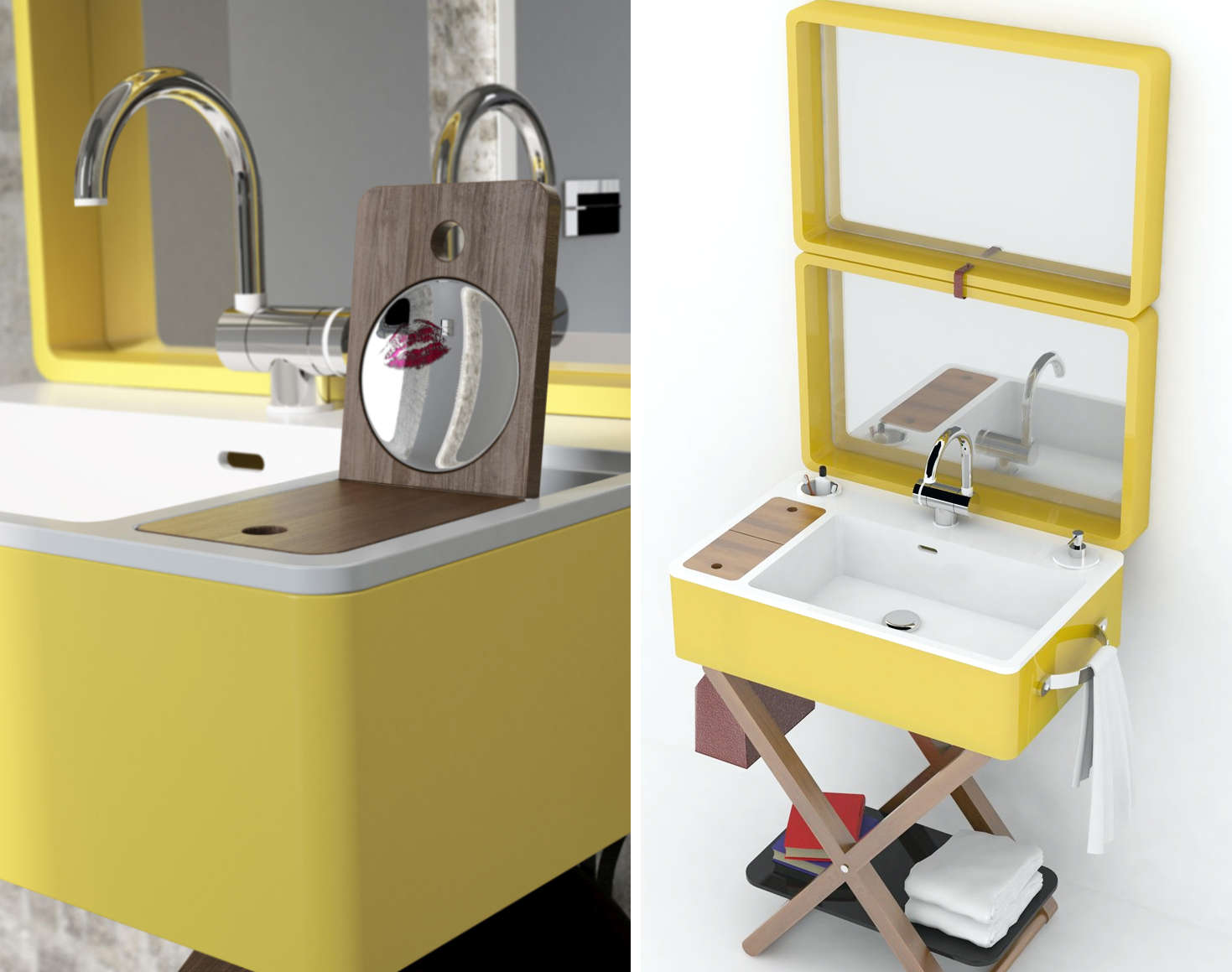 A portable vanity designed to resemble a suitcase