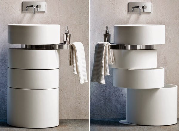 Cylindrical sink with stacked storage underneath