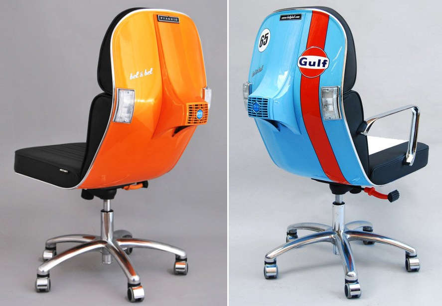 Office chairs from recycled Vespa scooters