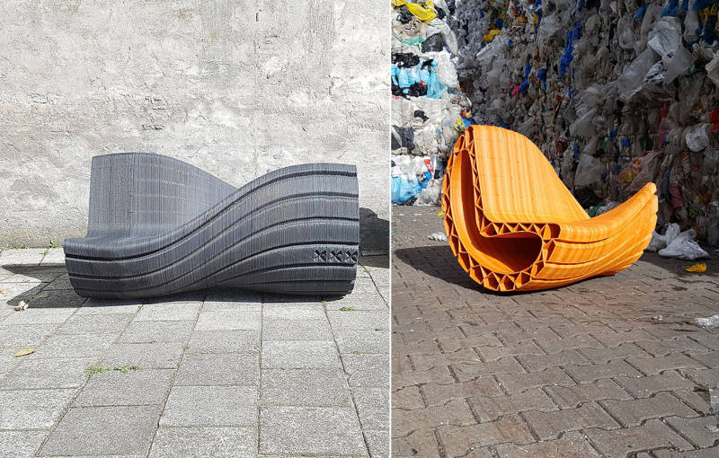 Double-sided public seating made from plastic waste