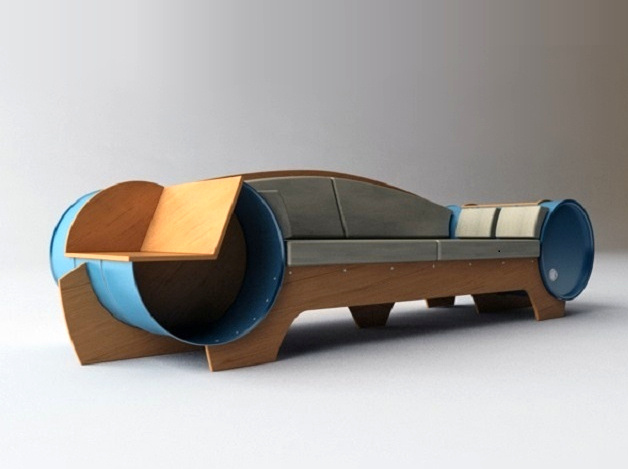 Sofa repurposed from discarded metal barrels