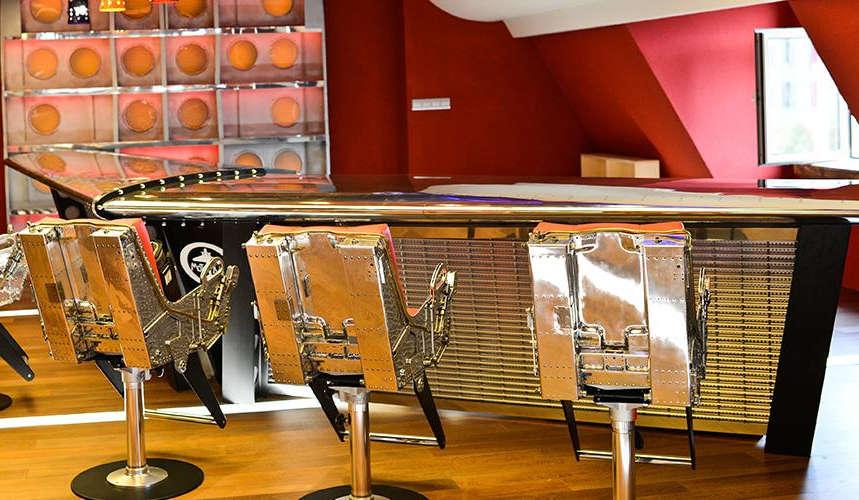 Bar made from repurposed Grumman Gulfstream 2 tail fins