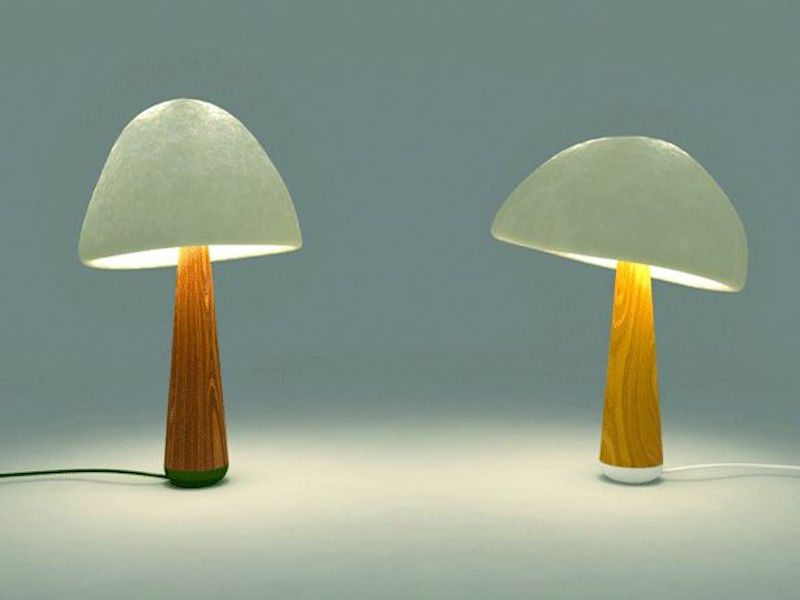 Table lamp shades made from roots of mushrooms