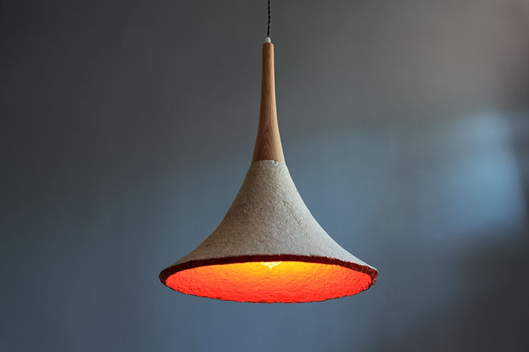 Sustainably made pendant fixture from mushroom roots