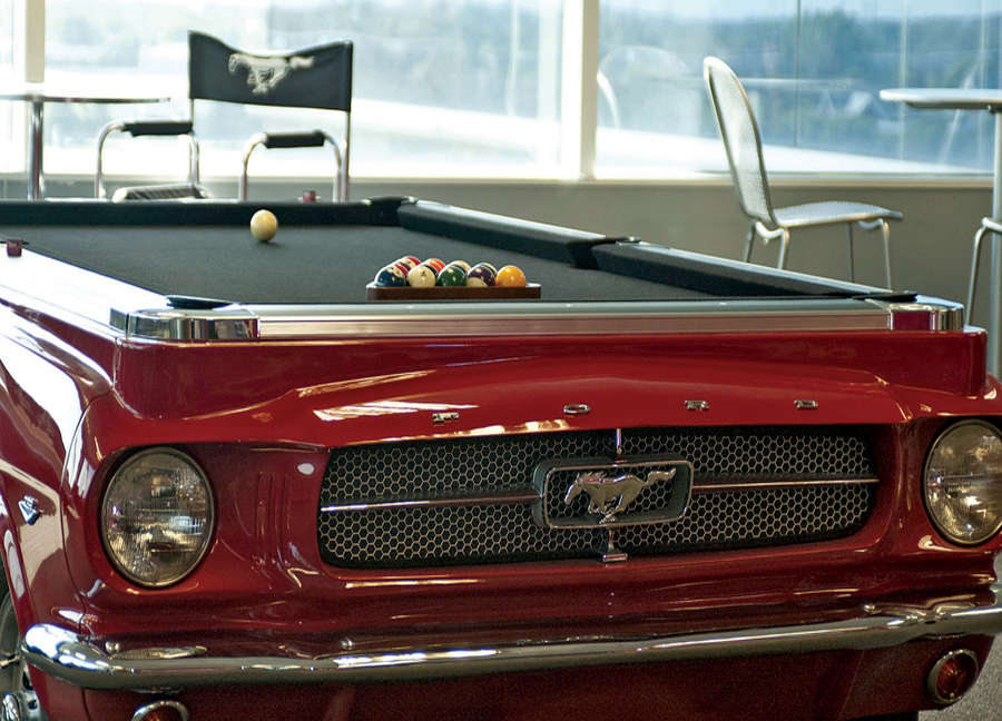 Pool table upcycled from a 1965 Ford Mustang