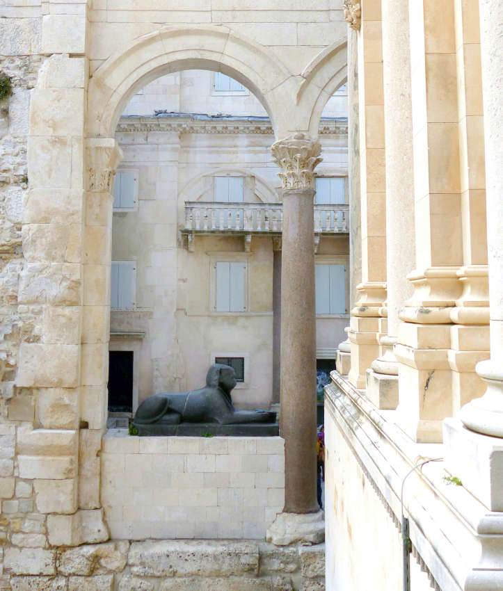 Granite sphinx in Diocletian's Palace of Split, Croatia.