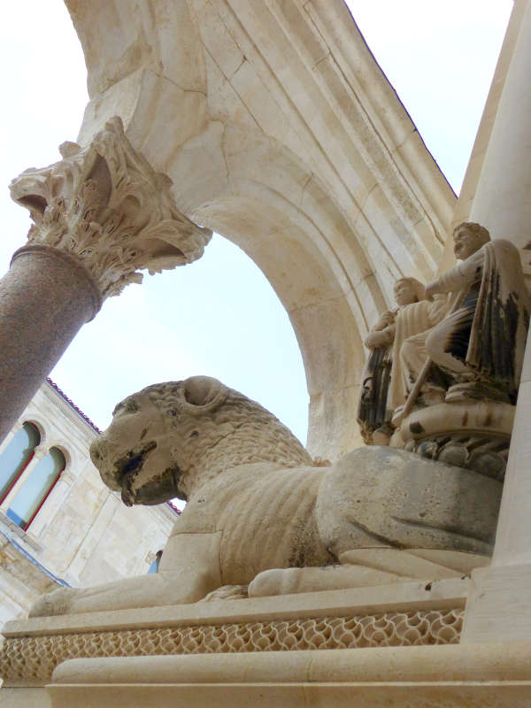 Lion statue in front of Saint Domnius Cathedral, Split.