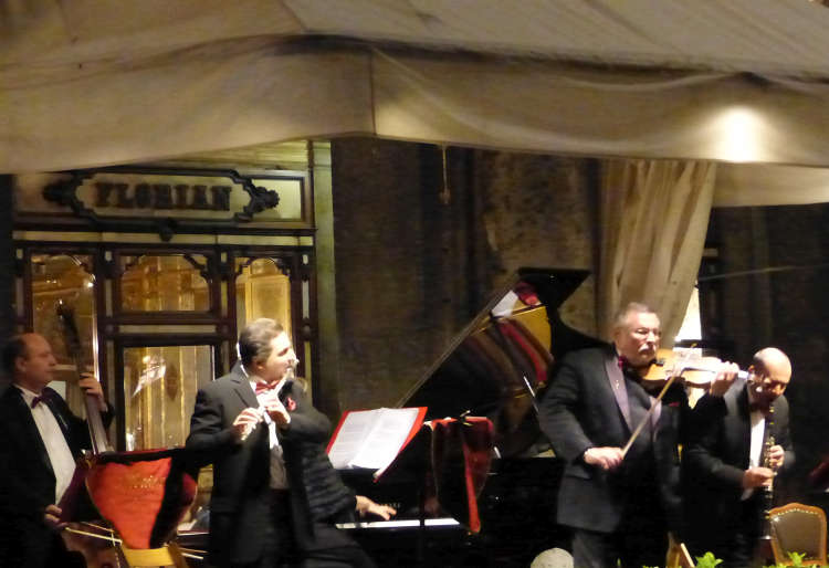 Classical musicians outside Caffè Florian in St. Mark's Square.