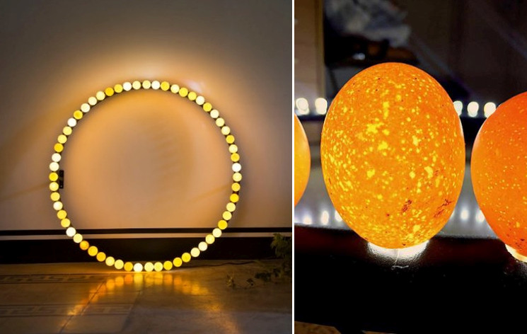 Circular light sculpture made of eggs