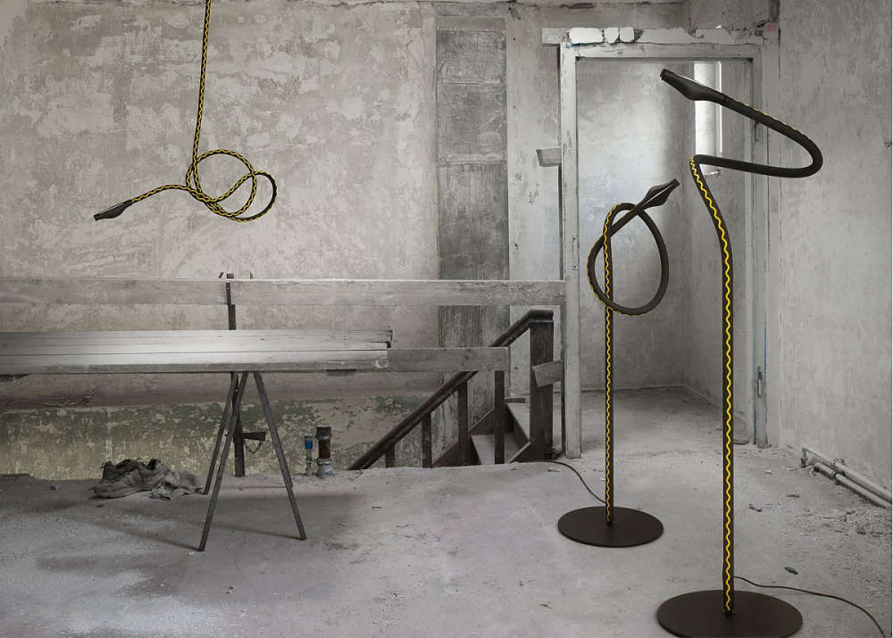 Flexible floor lamp made from garden hose
