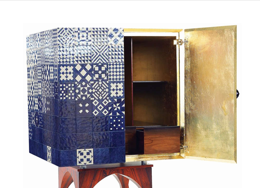 Giovanni cabinet with gold leaf interior