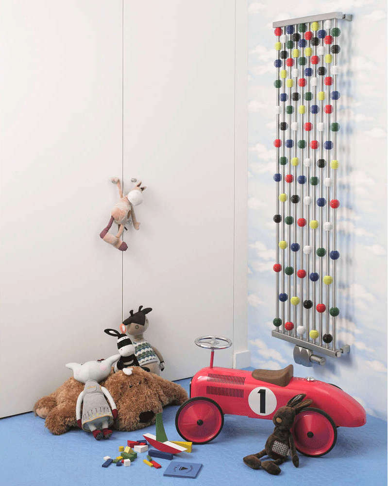 A colorful radiator looking like an abacus