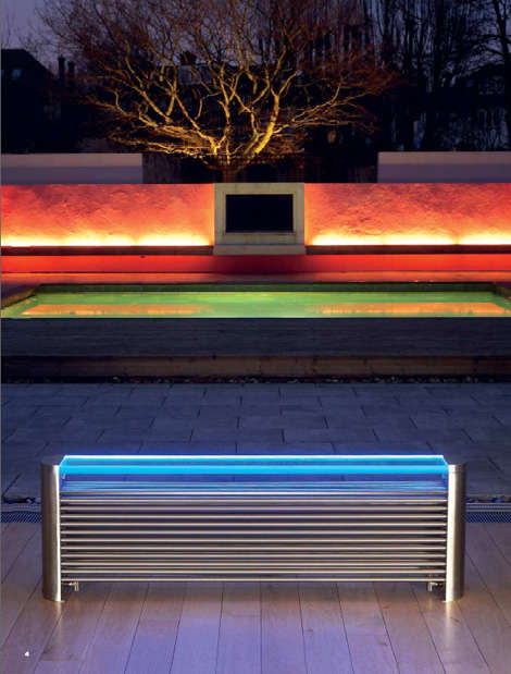 A radiator bench with an LED lit glass top