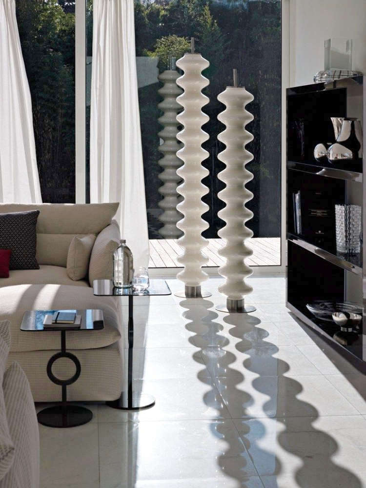 A free standing radiator that looks like a floor sculpture.