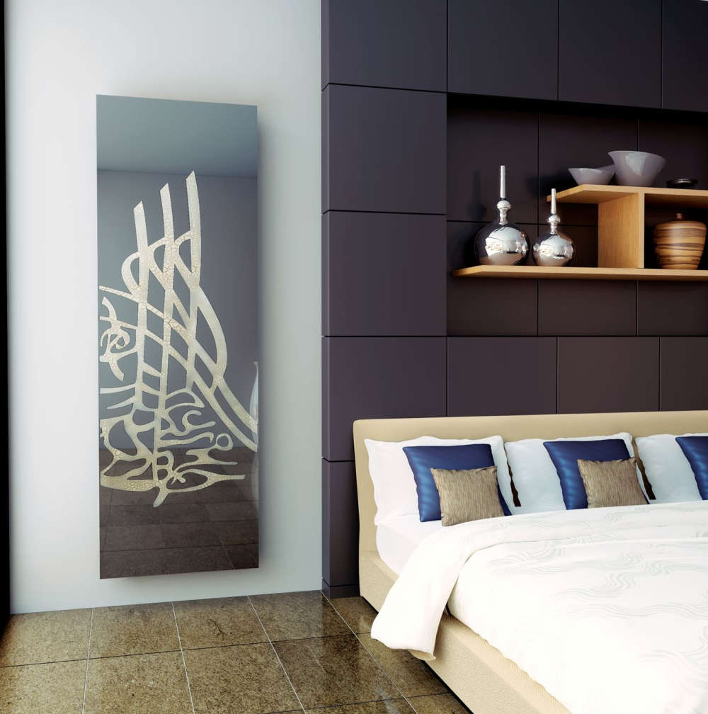 A wall radiator panel with a custom printed glass cover