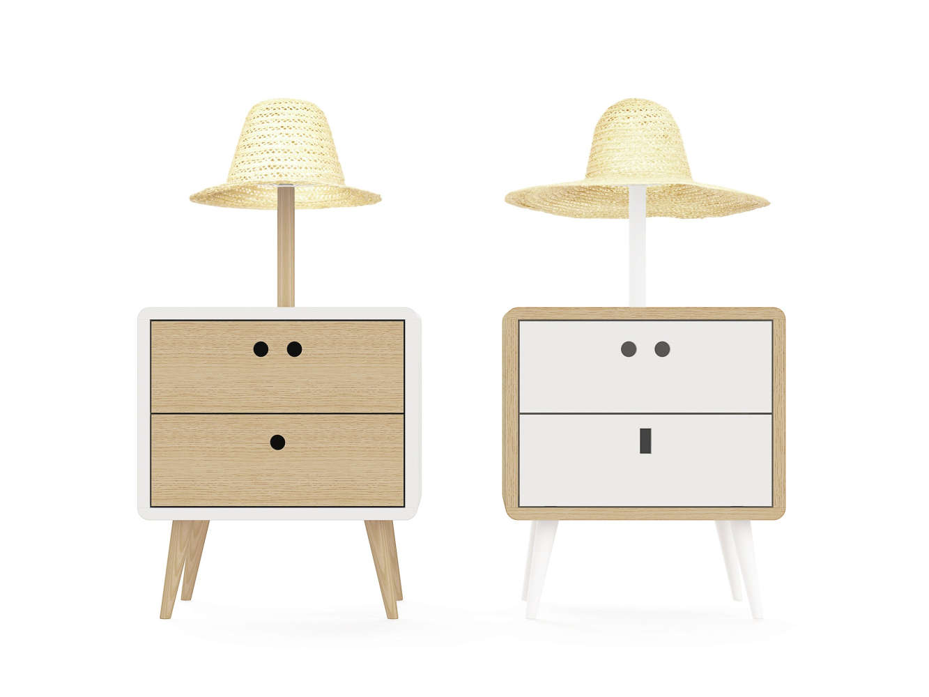 Nightstand with lampshade resembling a straw hat attached