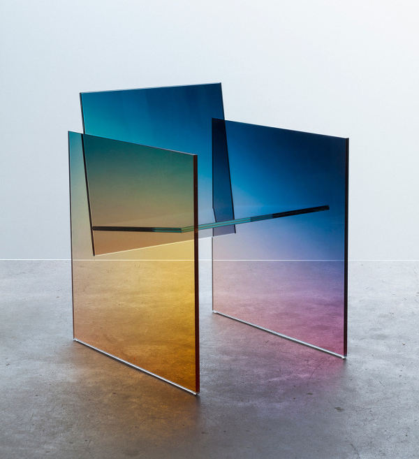 A chair made of ombre glass