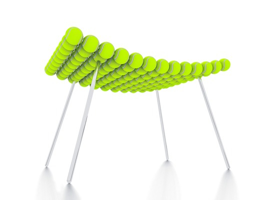 Stool made with reclaimed tennis balls