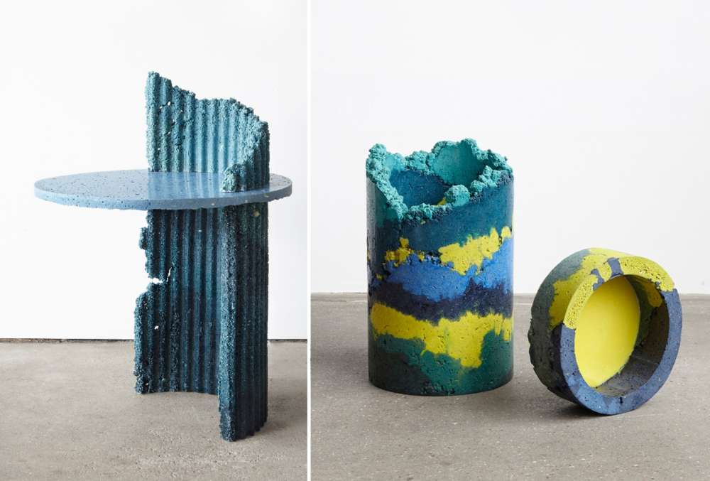 Furniture made with recycled polyurethane foam dust