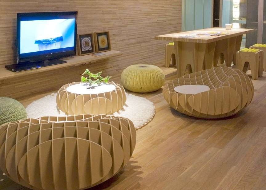 Seating and coffee table made using upcycled cardboard