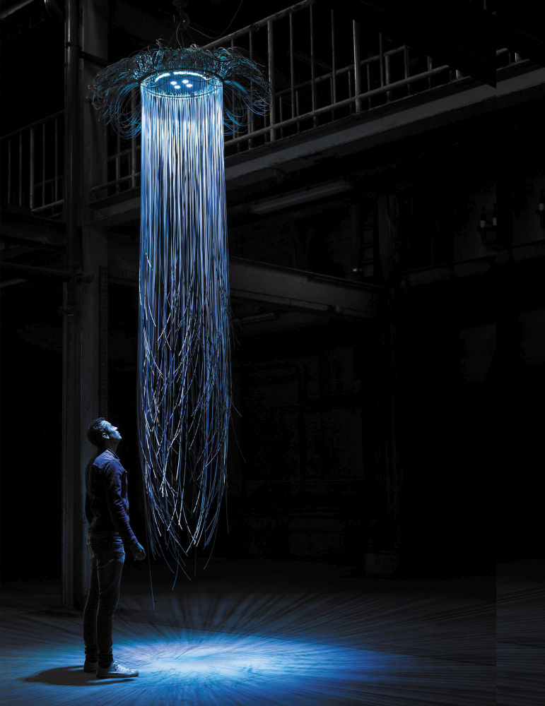 An LED suspension light fixture of wire ropes inspired by a bioluminescent jellyfish