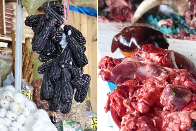 Staples of Peruvian diet: Purple corn and beef heart